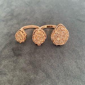 Kendra Scott Rose Gold Drusy Naomi Double Ring